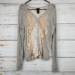 Daytrip Sequin & Lace Cardigan Sweater